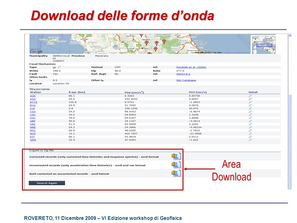 ROVERETO, 11 Dicembre 2009 – VI Edizione workshop di Geofisica Download delle forme donda Area Download