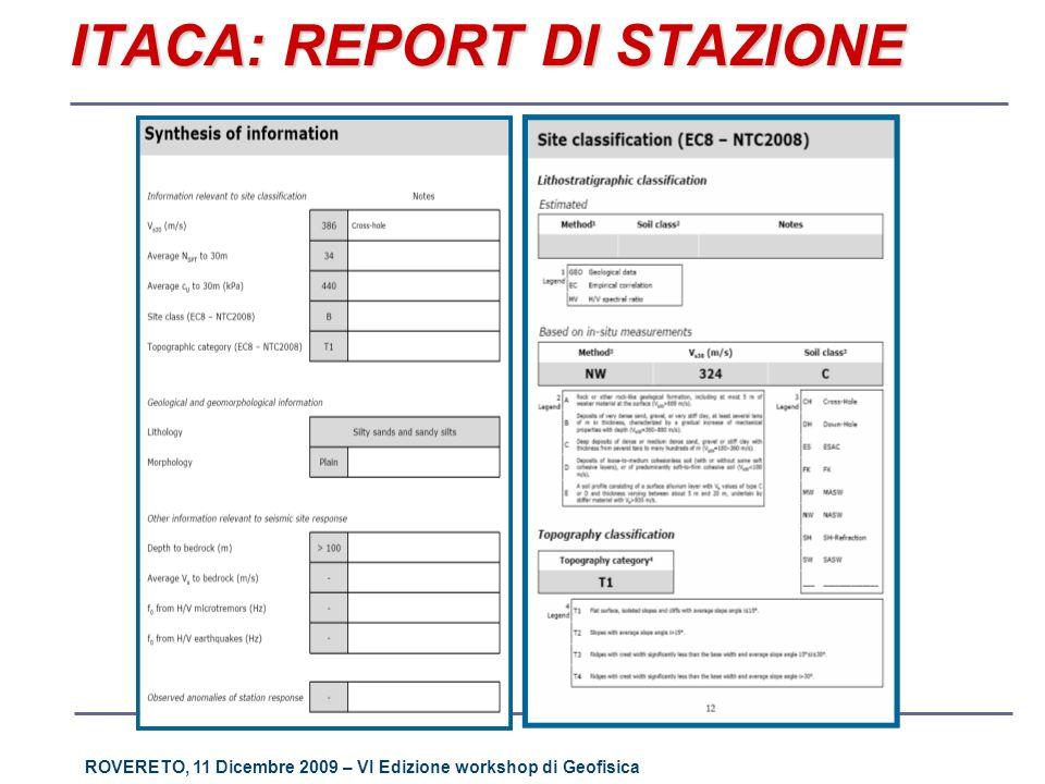 ROVERETO, 11 Dicembre 2009 – VI Edizione workshop di Geofisica ITACA: REPORT DI STAZIONE