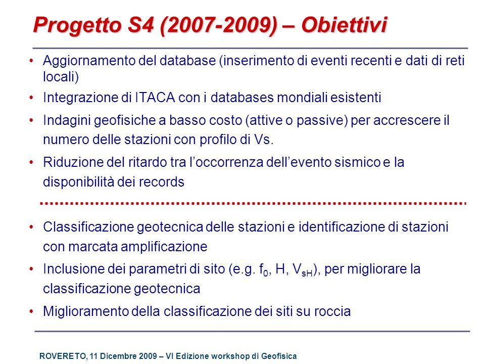 ROVERETO, 11 Dicembre 2009 – VI Edizione workshop di Geofisica Progetto S4 (2007-2009) – Obiettivi Aggiornamento del database (inserimento di eventi r