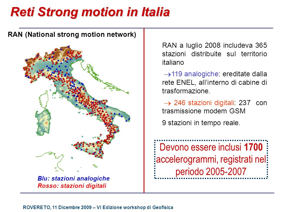 ROVERETO, 11 Dicembre 2009 – VI Edizione workshop di Geofisica Reti Strong motion in Italia RAN (National strong motion network) RAN a luglio 2008 inc
