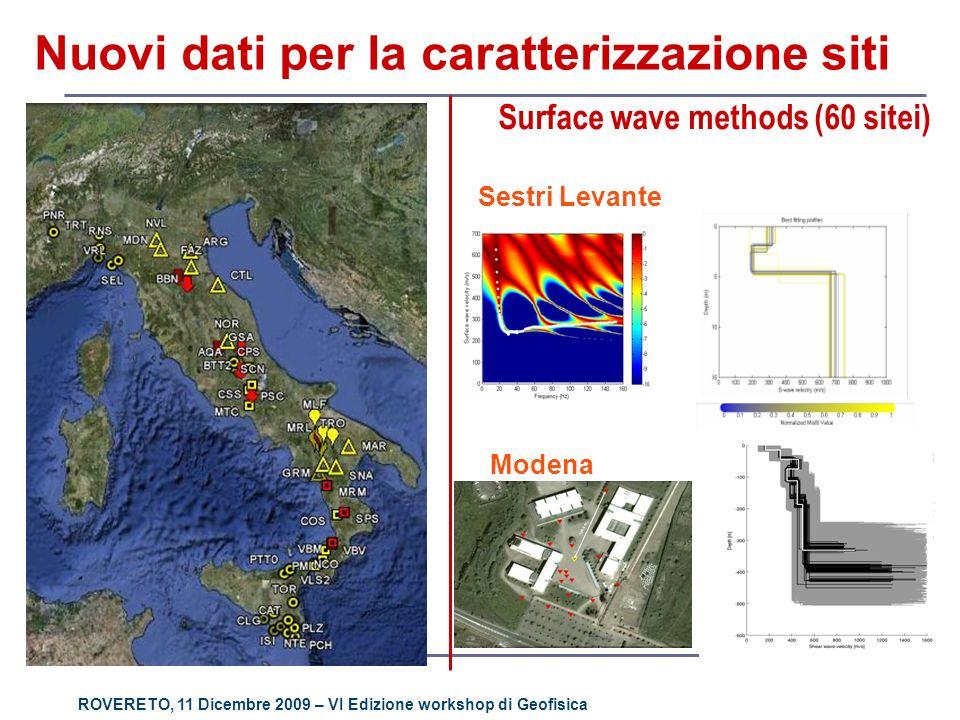 ROVERETO, 11 Dicembre 2009 – VI Edizione workshop di Geofisica Nuovi dati per la caratterizzazione siti Surface wave methods (60 sitei) Modena Sestri