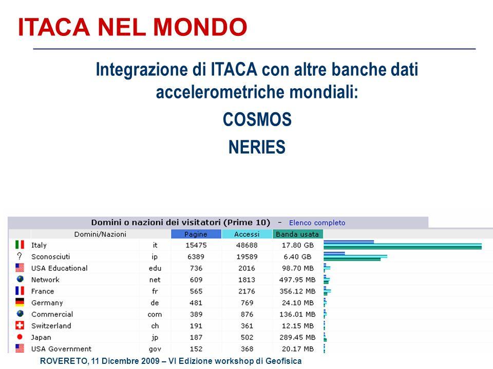 ROVERETO, 11 Dicembre 2009 – VI Edizione workshop di Geofisica ITACA NEL MONDO Integrazione di ITACA con altre banche dati accelerometriche mondiali: