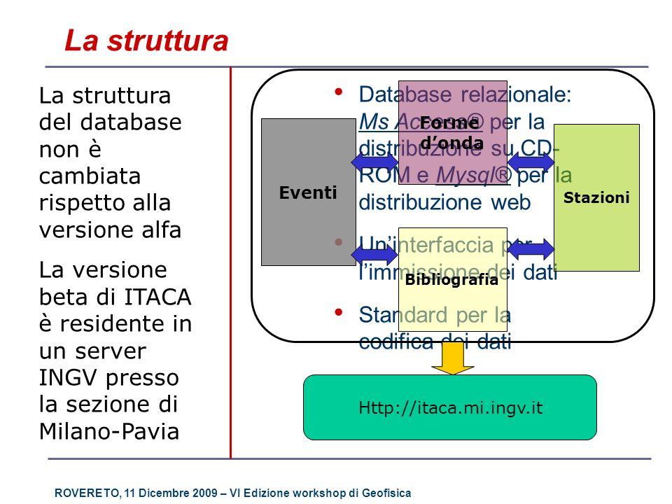 ROVERETO, 11 Dicembre 2009 – VI Edizione workshop di Geofisica La struttura Database relazionale: Ms Access® per la distribuzione su CD- ROM e Mysql®