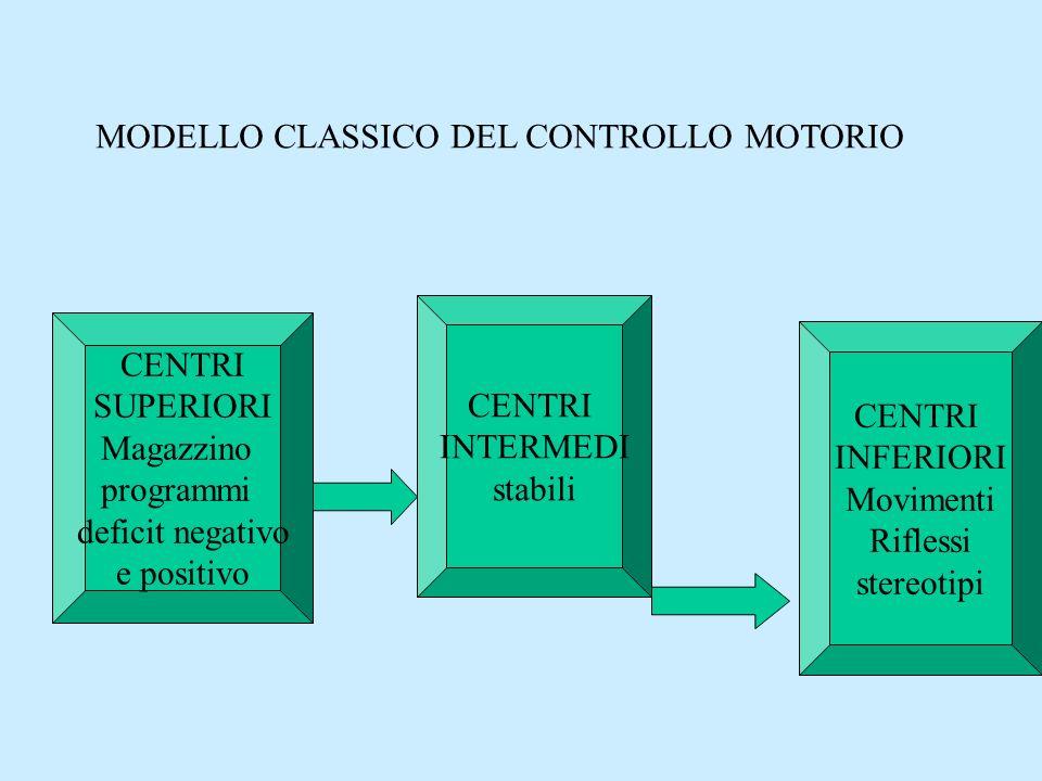 MODELLO A SISTEMI DEL CONTROLLO MOTORIO Gangli basaliCervelletto Corteccia cerebrale Generatore centrale pattern Sistemi discendenti csp Recettori Muscoli Anse di retrocontrollo