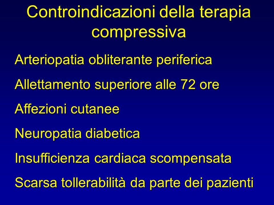 Controindicazioni della terapia compressiva Arteriopatia obliterante periferica Allettamento superiore alle 72 ore Affezioni cutanee Neuropatia diabet