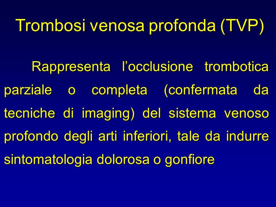 Trombosi venosa profonda (TVP) Rappresenta locclusione trombotica parziale o completa (confermata da tecniche di imaging) del sistema venoso profondo