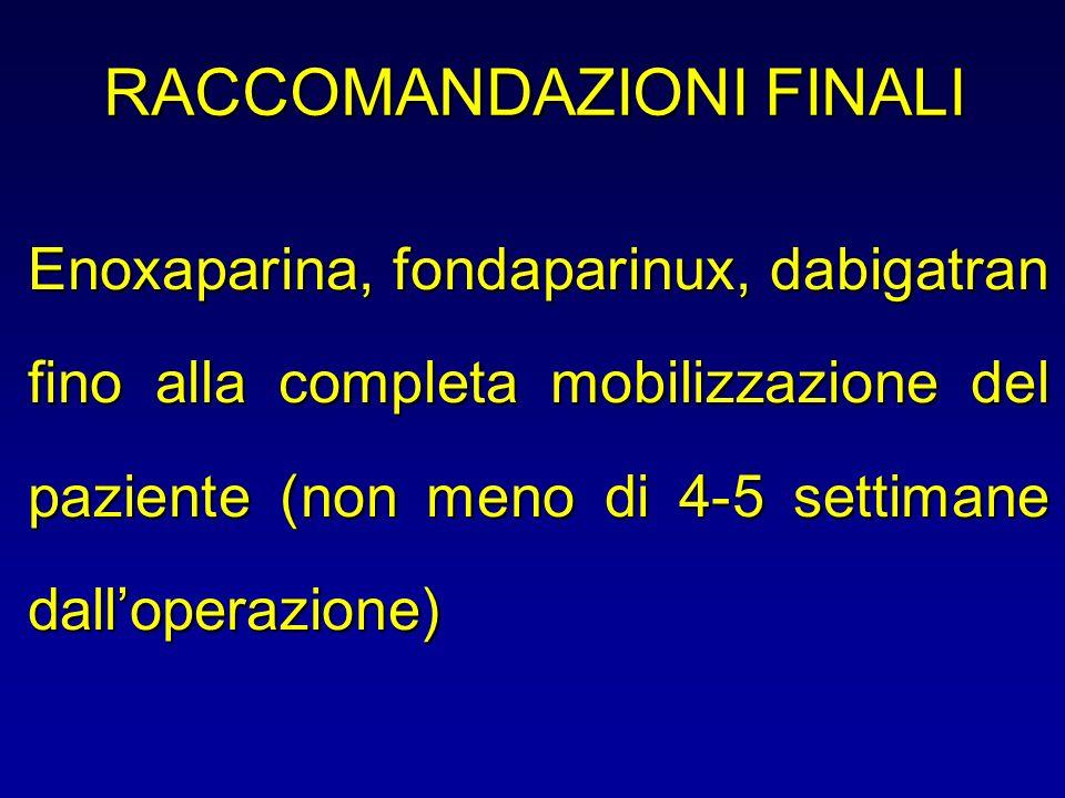 RACCOMANDAZIONI FINALI Enoxaparina, fondaparinux, dabigatran fino alla completa mobilizzazione del paziente (non meno di 4-5 settimane dalloperazione)
