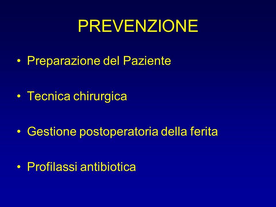 PREVENZIONE Preparazione del Paziente Tecnica chirurgica Gestione postoperatoria della ferita Profilassi antibiotica