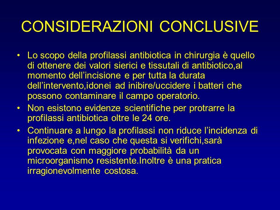 CONSIDERAZIONI CONCLUSIVE Lo scopo della profilassi antibiotica in chirurgia è quello di ottenere dei valori sierici e tissutali di antibiotico,al mom