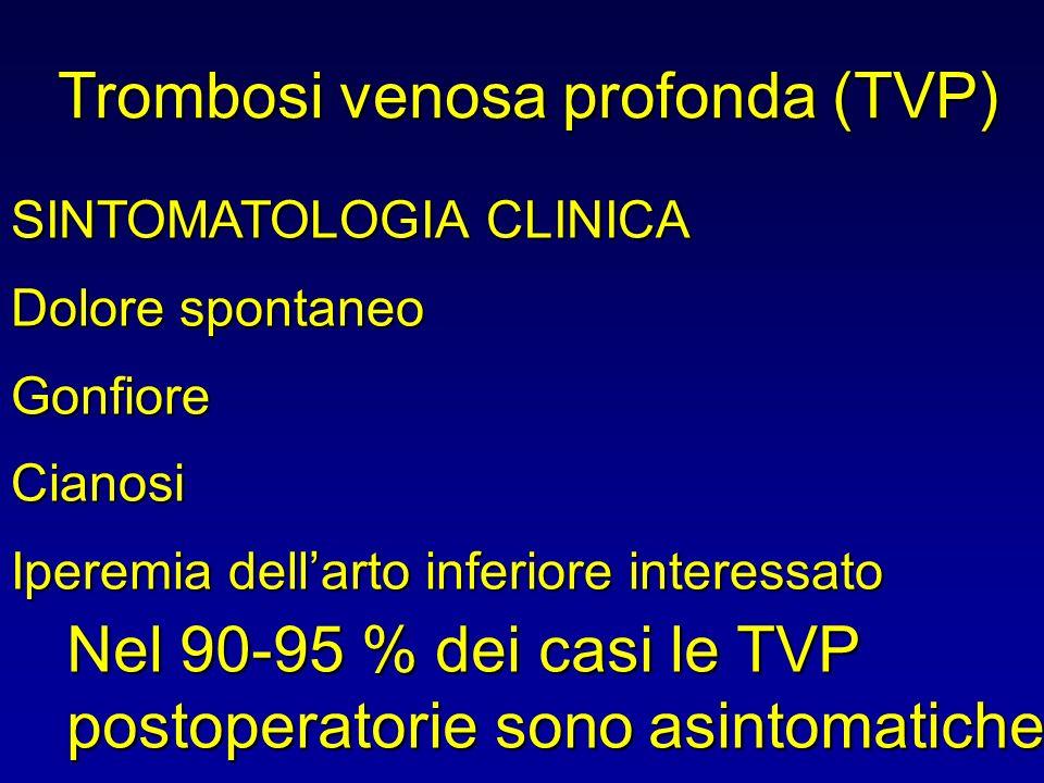 Trombosi venosa profonda (TVP) SINTOMATOLOGIA CLINICA Dolore spontaneo Gonfiore Cianosi Iperemia dellarto inferiore interessato Nel 90-95 % dei casi l