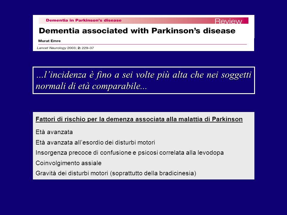 …lincidenza è fino a sei volte più alta che nei soggetti normali di età comparabile... Fattori di rischio per la demenza associata alla malattia di Pa