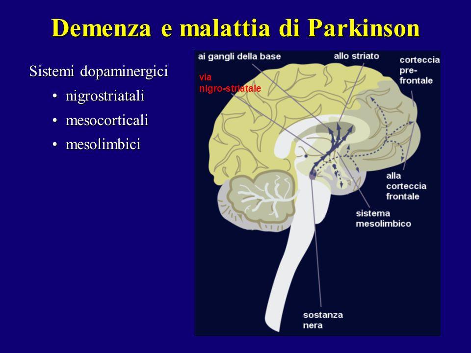 Sistemi dopaminergici nigrostriatalinigrostriatali mesocorticalimesocorticali mesolimbicimesolimbici Demenza e malattia di Parkinson via nigro-striata