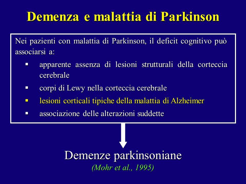 Nei pazienti con malattia di Parkinson, il deficit cognitivo può associarsi a: apparente assenza di lesioni strutturali della corteccia cerebrale appa