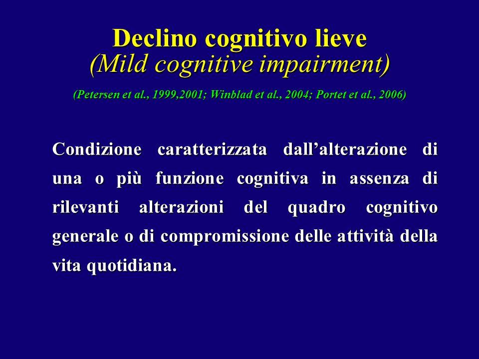 Declino cognitivo lieve (Mild cognitive impairment) (Petersen et al., 1999,2001; Winblad et al., 2004; Portet et al., 2006) Condizione caratterizzata