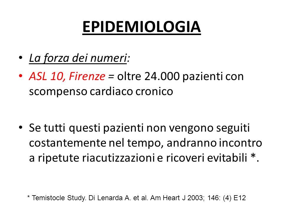 EPIDEMIOLOGIA La forza dei numeri: ASL 10, Firenze = oltre 24.000 pazienti con scompenso cardiaco cronico Se tutti questi pazienti non vengono seguiti