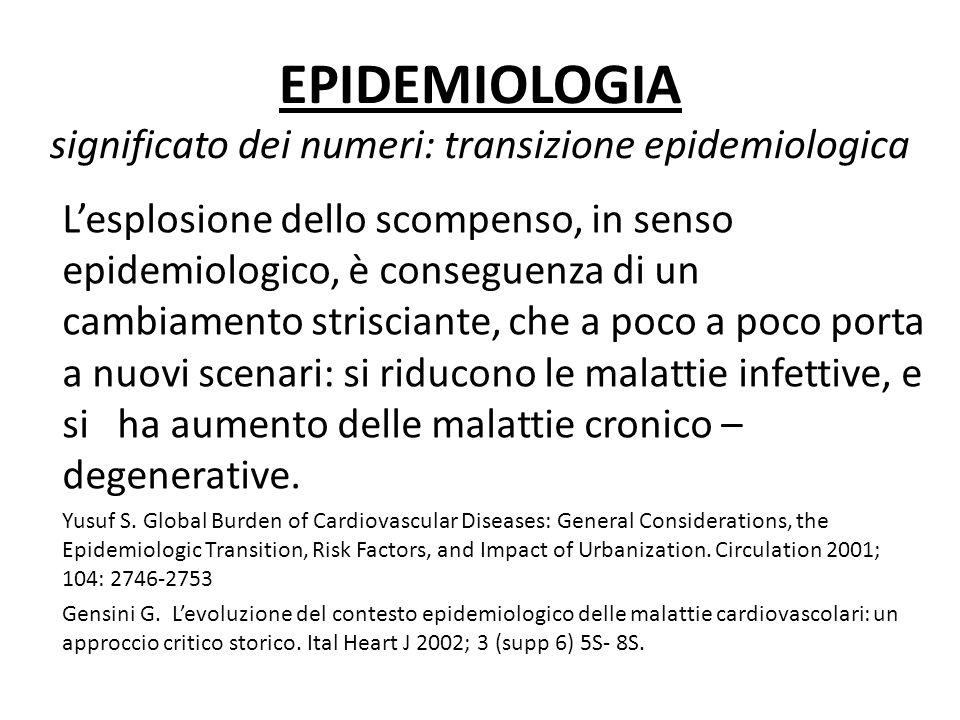 EPIDEMIOLOGIA significato dei numeri: transizione epidemiologica Lesplosione dello scompenso, in senso epidemiologico, è conseguenza di un cambiamento