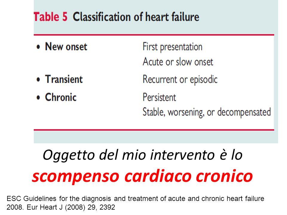 Oggetto del mio intervento è lo scompenso cardiaco cronico ESC Guidelines for the diagnosis and treatment of acute and chronic heart failure 2008. Eur