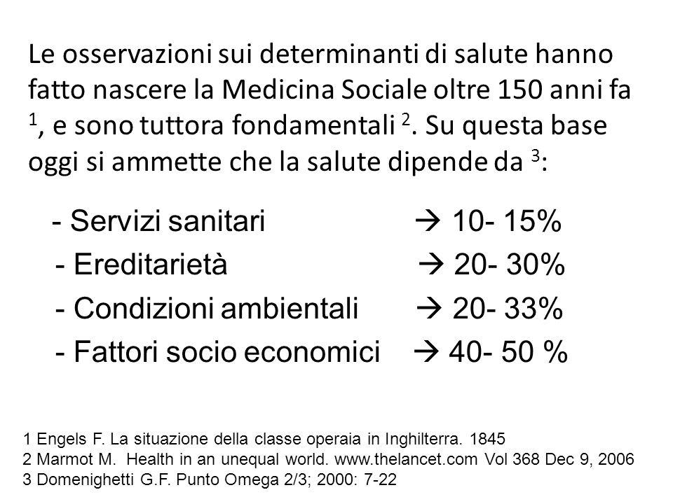 Le osservazioni sui determinanti di salute hanno fatto nascere la Medicina Sociale oltre 150 anni fa 1, e sono tuttora fondamentali 2. Su questa base