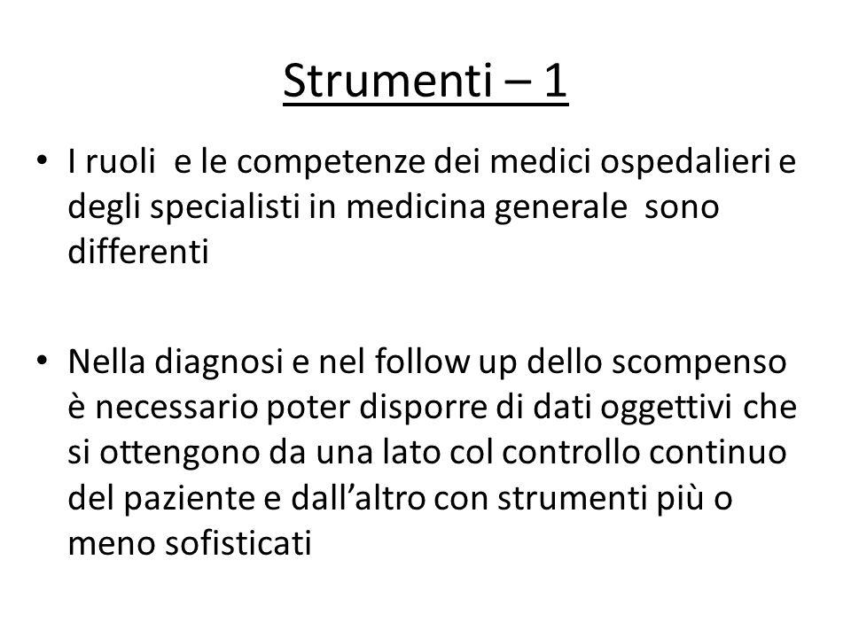 Strumenti – 1 I ruoli e le competenze dei medici ospedalieri e degli specialisti in medicina generale sono differenti Nella diagnosi e nel follow up d