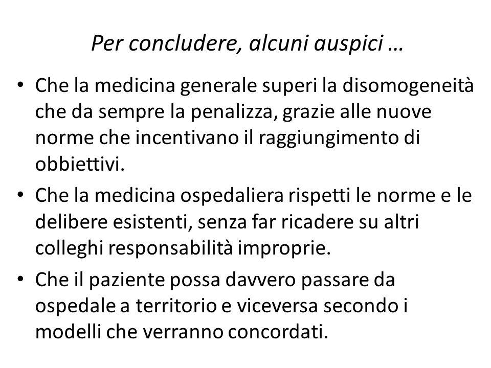 Per concludere, alcuni auspici … Che la medicina generale superi la disomogeneità che da sempre la penalizza, grazie alle nuove norme che incentivano