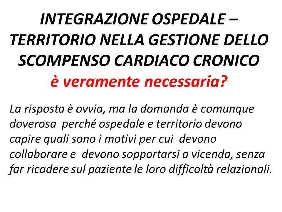 INTEGRAZIONE OSPEDALE – TERRITORIO NELLA GESTIONE DELLO SCOMPENSO CARDIACO CRONICO è veramente necessaria? La risposta è ovvia, ma la domanda è comunq
