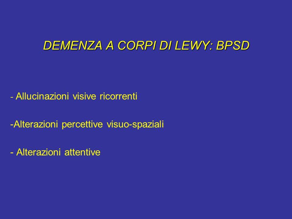 DEMENZA A CORPI DI LEWY: BPSD - Allucinazioni visive ricorrenti -Alterazioni percettive visuo-spaziali - Alterazioni attentive
