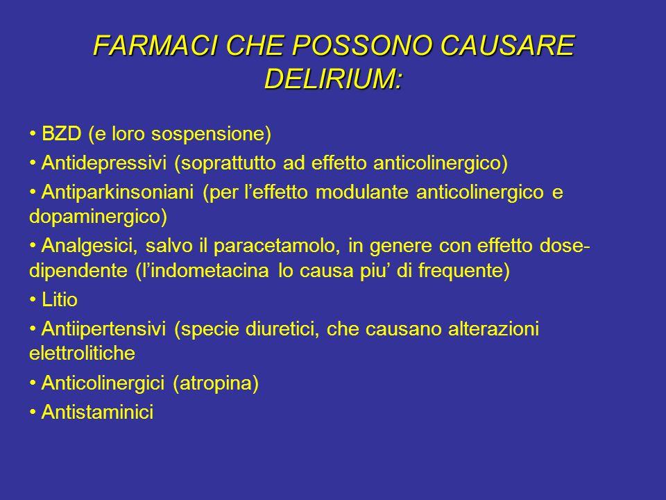 FARMACI CHE POSSONO CAUSARE DELIRIUM: BZD (e loro sospensione) Antidepressivi (soprattutto ad effetto anticolinergico) Antiparkinsoniani (per leffetto