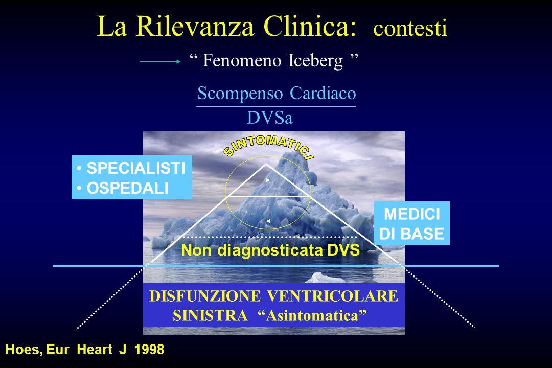 Fenomeno Iceberg Scompenso Cardiaco DVSa DISFUNZIONE VENTRICOLARE SINISTRA Asintomatica Non diagnosticata DVS MEDICI DI BASE SPECIALISTI OSPEDALI Hoes