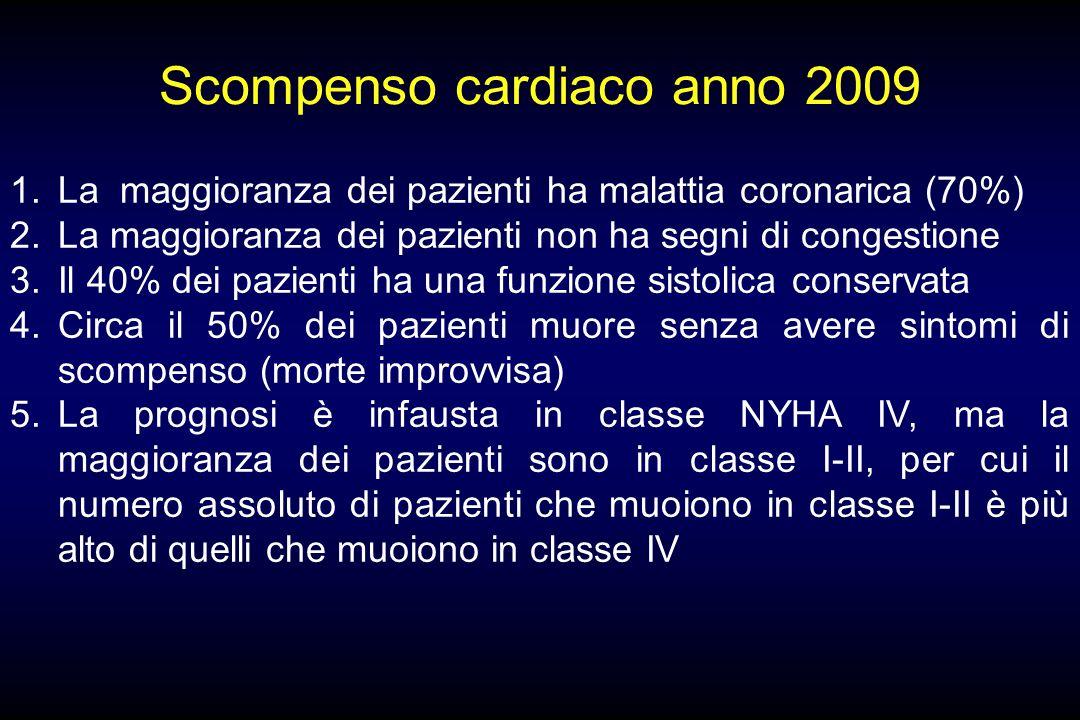 Scompenso cardiaco anno 2009 1.La maggioranza dei pazienti ha malattia coronarica (70%) 2.La maggioranza dei pazienti non ha segni di congestione 3.Il