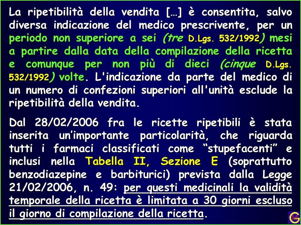 La ripetibilità della vendita […] è consentita, salvo diversa indicazione del medico prescrivente, per un periodo non superiore a sei (tre D.Lgs. 532/
