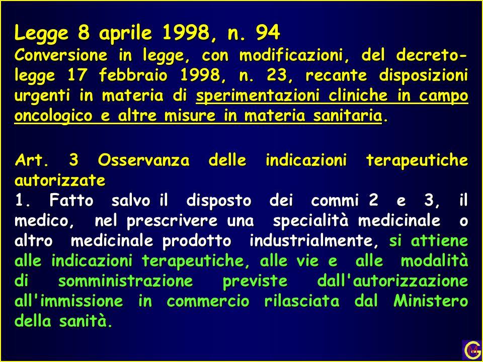 Legge 8 aprile 1998, n. 94 Conversione in legge, con modificazioni, del decreto- legge 17 febbraio 1998, n. 23, recante disposizioni urgenti in materi