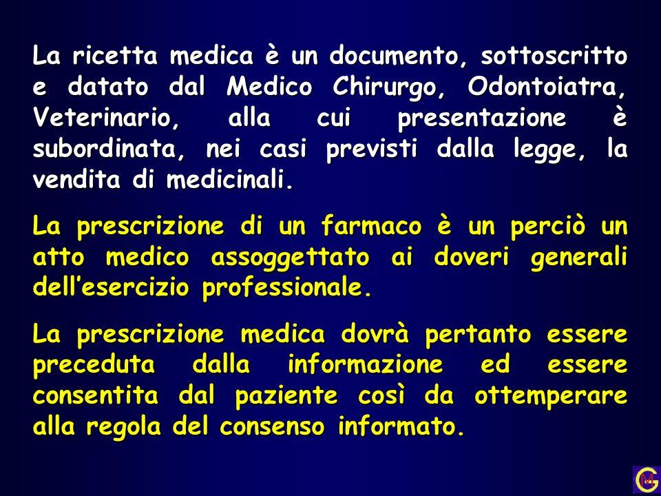 La ricetta medica è un documento, sottoscritto e datato dal Medico Chirurgo, Odontoiatra, Veterinario, alla cui presentazione è subordinata, nei casi