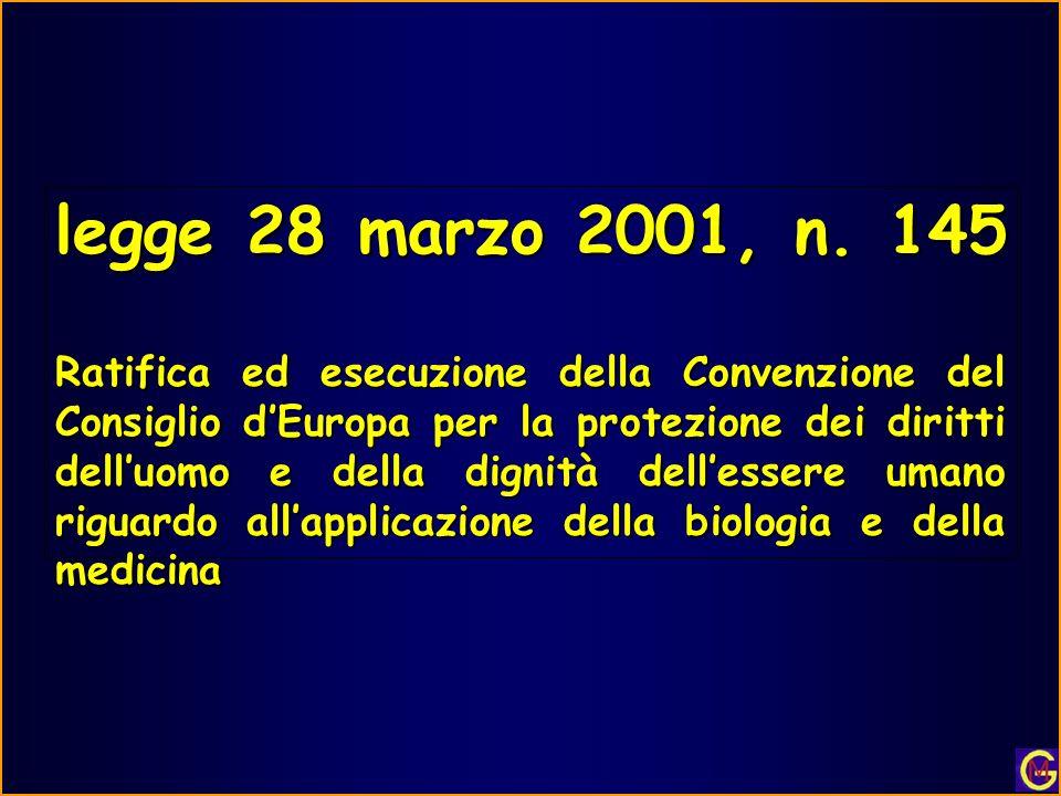 legge 28 marzo 2001, n. 145 Ratifica ed esecuzione della Convenzione del Consiglio dEuropa per la protezione dei diritti delluomo e della dignità dell