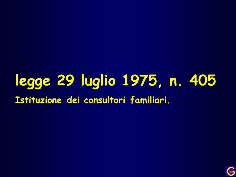 legge 29 luglio 1975, n. 405 Istituzione dei consultori familiari.