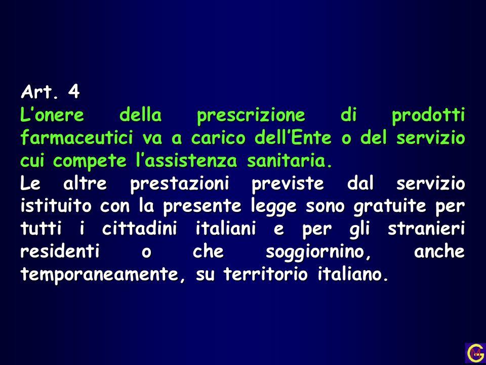 Art. 4 Lonere della prescrizione di prodotti farmaceutici va a carico dellEnte o del servizio cui compete lassistenza sanitaria. Le altre prestazioni