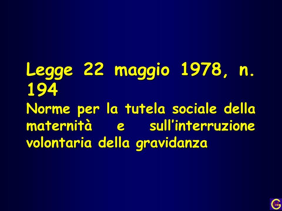 Legge 22 maggio 1978, n. 194 Norme per la tutela sociale della maternità e sullinterruzione volontaria della gravidanza