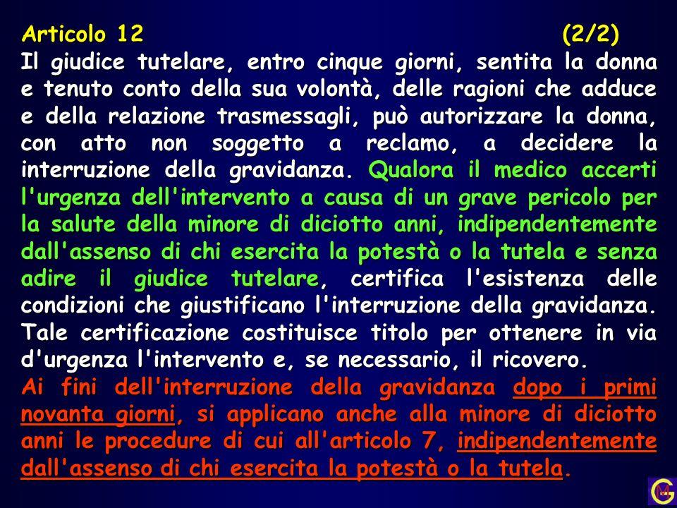 Articolo 12(2/2) Il giudice tutelare, entro cinque giorni, sentita la donna e tenuto conto della sua volontà, delle ragioni che adduce e della relazio