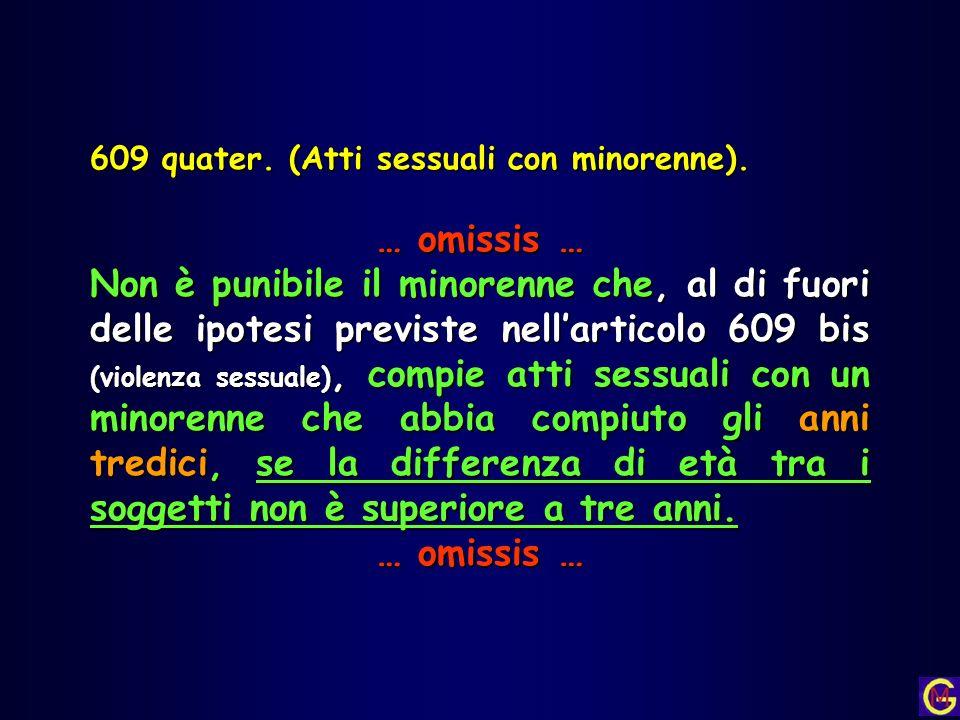 609 quater. (Atti sessuali con minorenne). … omissis … Non è punibile il minorenne che, al di fuori delle ipotesi previste nellarticolo 609 bis (viole