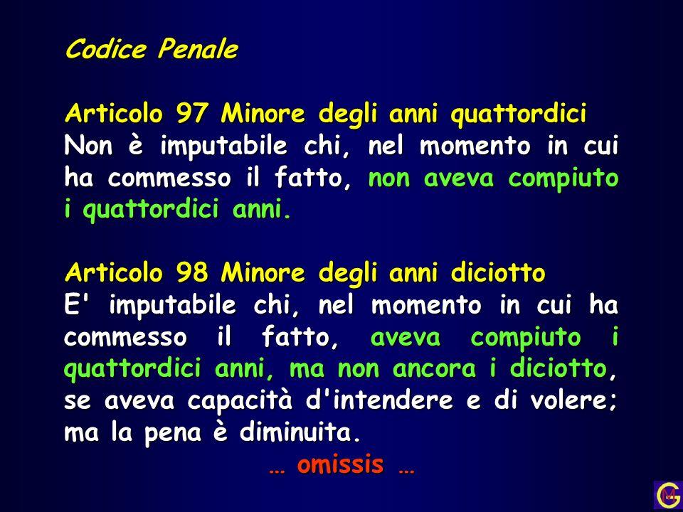 Codice Penale Articolo 97 Minore degli anni quattordici Non è imputabile chi, nel momento in cui ha commesso il fatto, non aveva compiuto i quattordic
