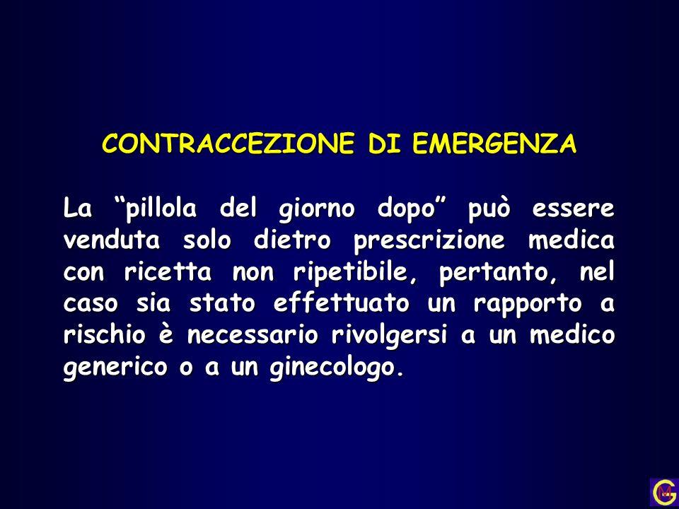 CONTRACCEZIONE DI EMERGENZA La pillola del giorno dopo può essere venduta solo dietro prescrizione medica con ricetta non ripetibile, pertanto, nel ca