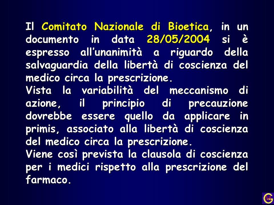 Il Comitato Nazionale di Bioetica, in un documento in data 28/05/2004 si è espresso allunanimità a riguardo della salvaguardia della libertà di coscie