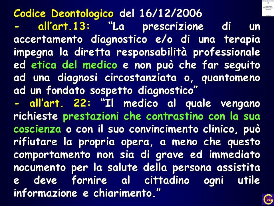 Codice Deontologico del 16/12/2006 - allart.13: La prescrizione di un accertamento diagnostico e/o di una terapia impegna la diretta responsabilità pr