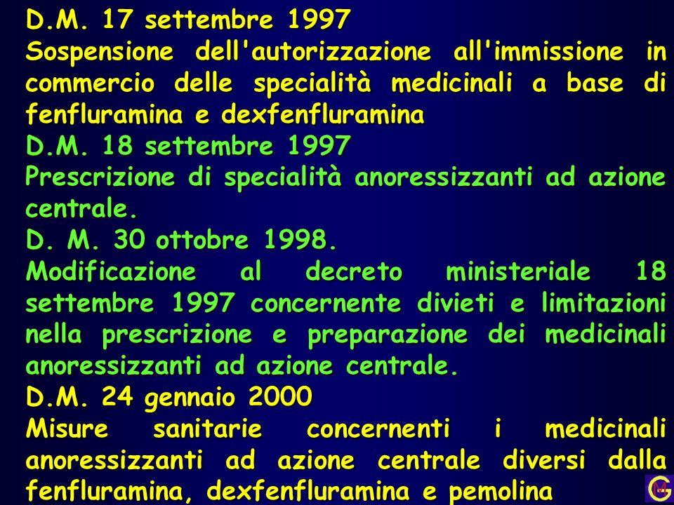 D.M. 17 settembre 1997 Sospensione dell'autorizzazione all'immissione in commercio delle specialità medicinali a base di fenfluramina e dexfenfluramin