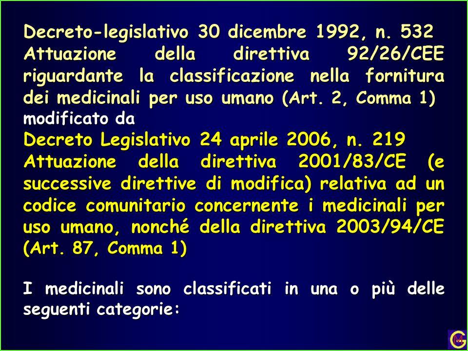 Decreto-legislativo 30 dicembre 1992, n. 532 Attuazione della direttiva 92/26/CEE riguardante la classificazione nella fornitura dei medicinali per us