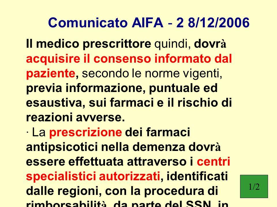 Comunicato AIFA - 2 8/12/2006 Il medico prescrittore quindi, dovr à acquisire il consenso informato dal paziente, secondo le norme vigenti, previa inf