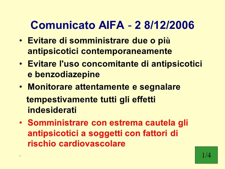 Comunicato AIFA - 2 8/12/2006 Evitare di somministrare due o pi ù antipsicotici contemporaneamente Evitare l'uso concomitante di antipsicotici e benzo