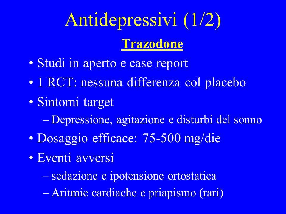 Antidepressivi (1/2) Trazodone Studi in aperto e case report 1 RCT: nessuna differenza col placebo Sintomi target –Depressione, agitazione e disturbi