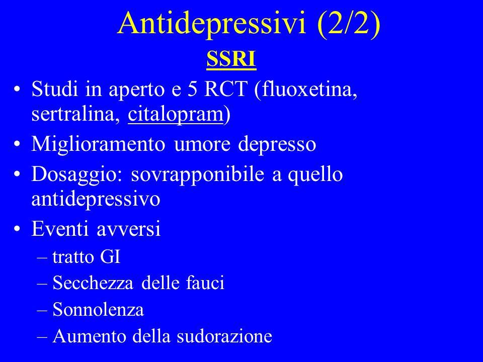 SSRI Studi in aperto e 5 RCT (fluoxetina, sertralina, citalopram) Miglioramento umore depresso Dosaggio: sovrapponibile a quello antidepressivo Eventi