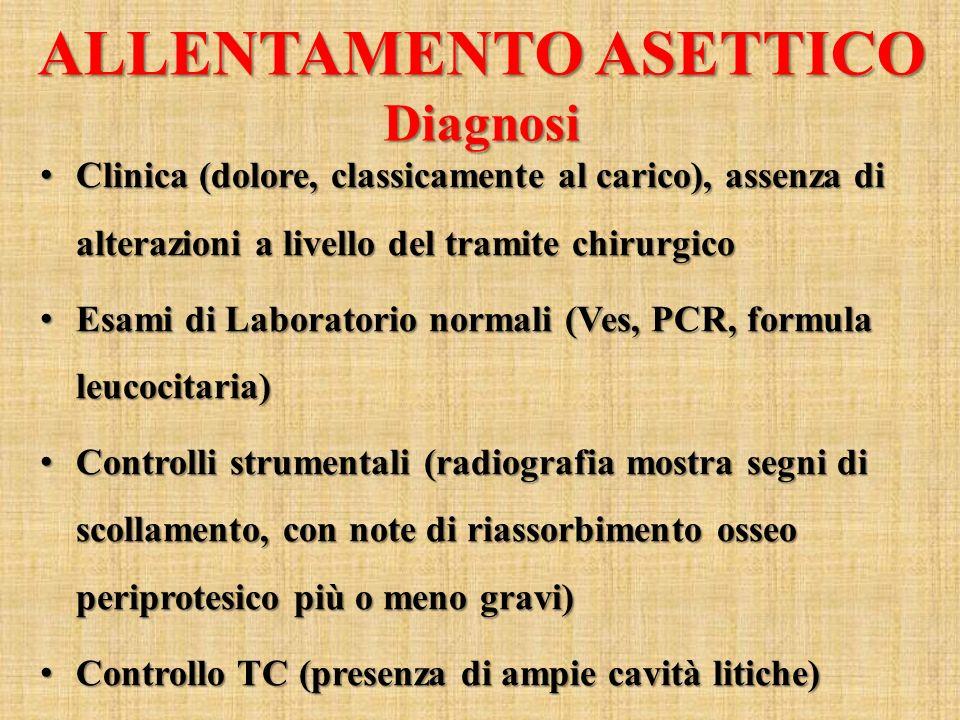ALLENTAMENTO ASETTICO Diagnosi Clinica (dolore, classicamente al carico), assenza di alterazioni a livello del tramite chirurgico Clinica (dolore, cla