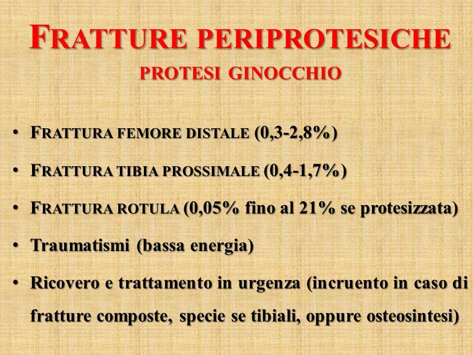 F RATTURE PERIPROTESICHE PROTESI GINOCCHIO F RATTURA FEMORE DISTALE (0,3-2,8%) F RATTURA FEMORE DISTALE (0,3-2,8%) F RATTURA TIBIA PROSSIMALE (0,4-1,7